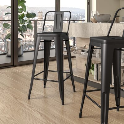 Judith 30 Bar Stool Upholstery: Matte Black