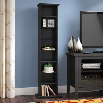 Deliah Slim Multimedia Storage Tower Color: Black