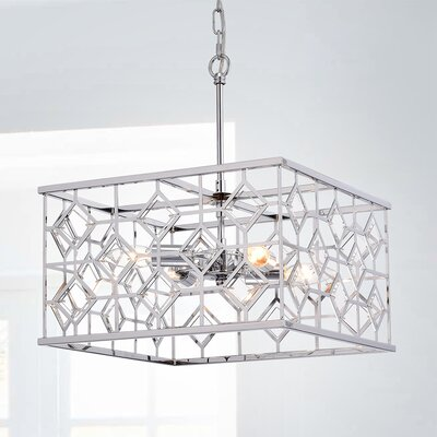 Workman Cage 4-Light Geometric Pendant Finish: Chrome