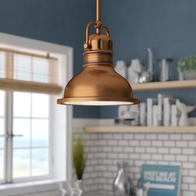 Maleah 1-Light Metal Mini Pendant Color: Washed Copper, Size: 41.34 H x 8.75 W x 8.75 D