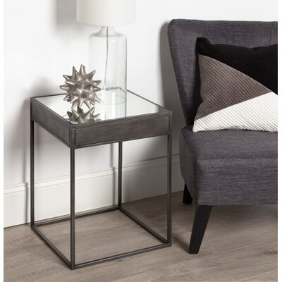 Goodson Square Mirrored Metal End Table