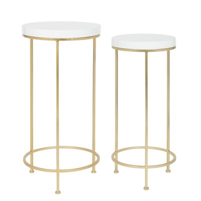Shona Metal and Wood 2 Piece Nesting Tables