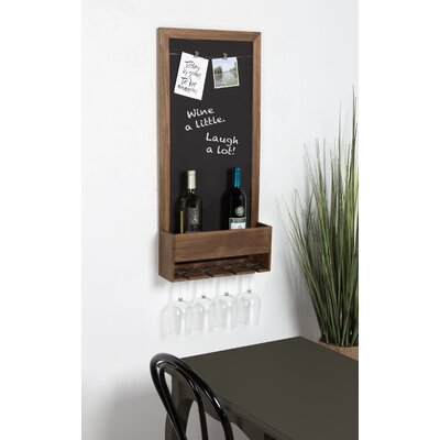 Mccaulley Wood Chalkboard 3 Bottle Wall Mounted Wine Rack Color: Rustic Brown