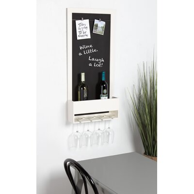 Mccaulley Wood Chalkboard 3 Bottle Wall Mounted Wine Rack Color: White
