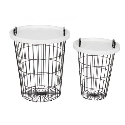 Goodyear 2 Piece Nesting Table Color: Black, White