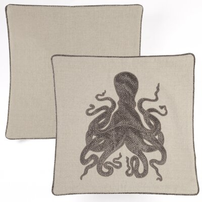 Octopus Embroidered Indoor/Outdoor Throw Pillow