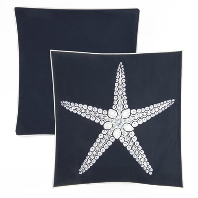 Starfish Button Embroider Indoor/Outdoor Cotton Throw Pillow