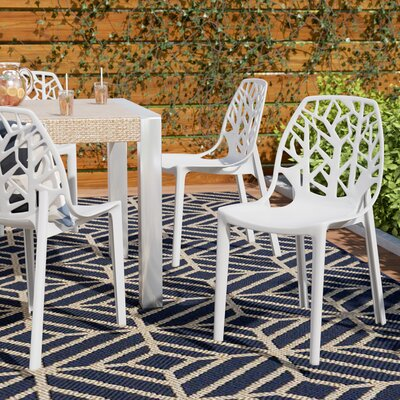 Kimonte Modern Stacking Patio Dining Chair Finish: Solid White