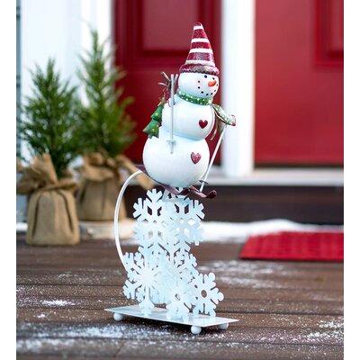 Skiing Snowman Balancer Heart Oversized Figurine 53986