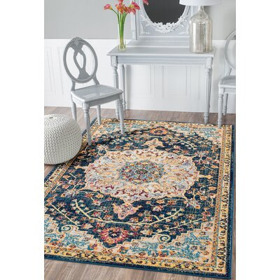 Dickison Blue/Beige Area Rug Rug Size: Rectangle 126 x 15