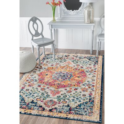 Didmarton Beige/Orange Area Rug Rug Size: Rectangle 53 x 72