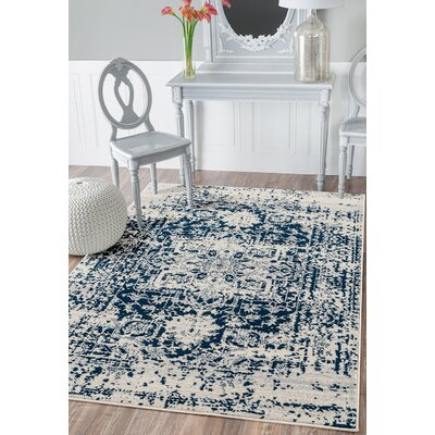 Diedrich Ivory/Blue Area Rug Rug Size: Rectangle 53 x 72