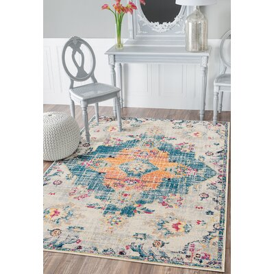 Diehl Blue Area Rug Rug Size: Rectangle 98 x 132