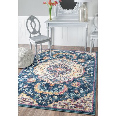 Diep Blue/Ivory Area Rug Rug Size: Rectangle 53 x 72