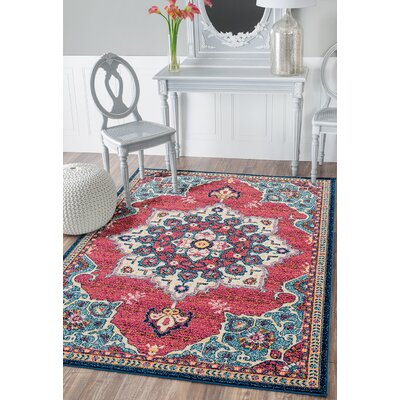 Dierks Blue/Red Area Rug Rug Size: Round 710