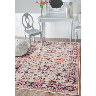 Dieter Beige/Purple Area Rug Rug Size: Rectangle 53 x 72