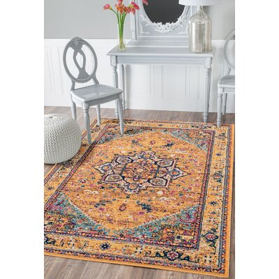 Dietrick Burnt Orange Area Rug Rug Size: Rectangle 98 x 132