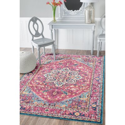 Dietz Magenta Area Rug Rug Size: Rectangle 98 x 132