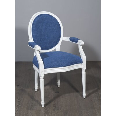 Kherodawala Armchair Upholstery: Blue, Finish: White