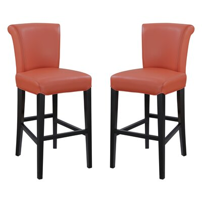 Crabb Taupe 30 Bar Stool Color: Orange