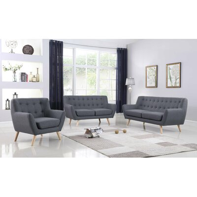 Zaragoza Mid-Century 3 Piece Living Room Set