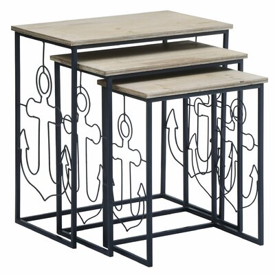 Desrochers Nautical 3 Piece Nesting Tables