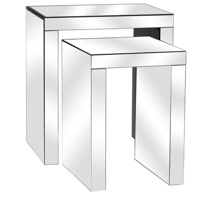 Lauritzen Beveled Mirror 2 Piece Nesting Tables