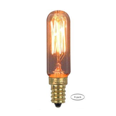 25W Amber E12/Candelabra Incandescent Vintage Filament Light Bulb