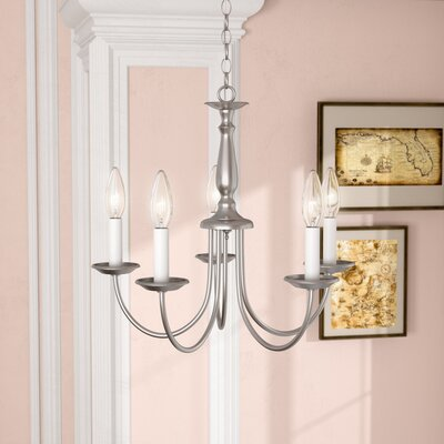 Bibbins 5-Light Candle-Style Chandelier Finish: Brushed Nickel