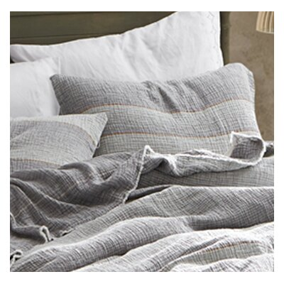 Crisler Portugal Soft Denim Stone Washed Sham Size: King, Color: Gray