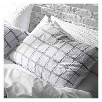 Crisman Frayed Edgings Sham Size: King, Color: White/Gray