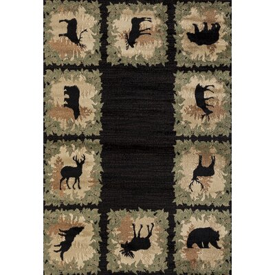 Pippen Woodsman Border Black/Green Area Rug Rug Size: Rectangle 53 x 72