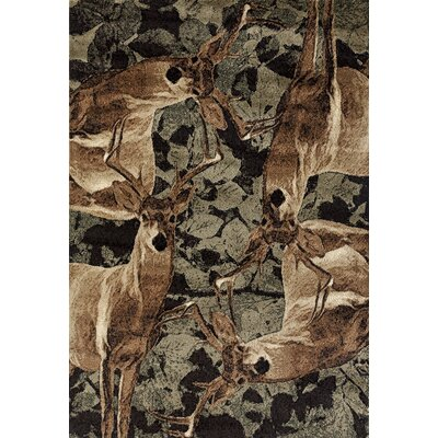 Pippen Deer Kin Brown/Green Area Rug Rug Size: Rectangle 110 x 3
