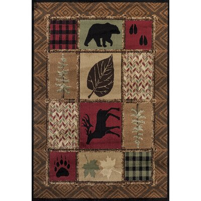 Pippen Patchwork Brown Area Rug Rug Size: Rectangle 110 x 3