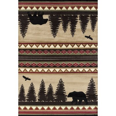 Pippen Bear Hunters Stride Beige/Black/Red Area Rug Rug Size: Runner 27 x 72