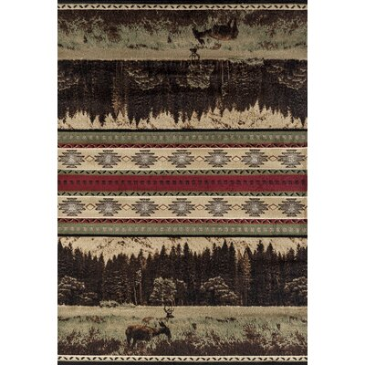 Pippen Woodland Meadows Green/Beige Area Rug Rug Size: Rectangle 710 x 106