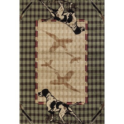 Pippen Hunters Lookout Green/Beige Area Rug Rug Size: Rectangle 110 x 3