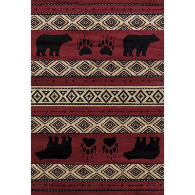 Pippen Bear Imprint Red/Beige/Black Area Rug Rug Size: Rectangle 710 x 106