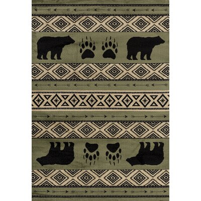 Pippen Bear Imprint Green/Beige/Black Area Rug Rug Size: Runner 27 x 72