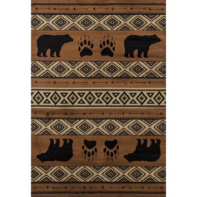 Pippen Bear Imprint Brown/Beige/Black Area Rug Rug Size: Rectangle 53 x 72