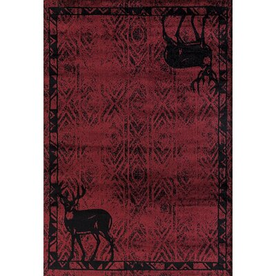 Pippen Deer Gaze Red Area Rug Rug Size: Rectangle 53 x 72