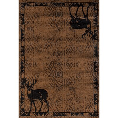 Pippen Deer Gaze Brown Area Rug Rug Size: Rectangle 53 x 72