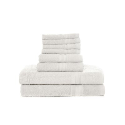 Mangine 8 Piece Towel Set Color: White