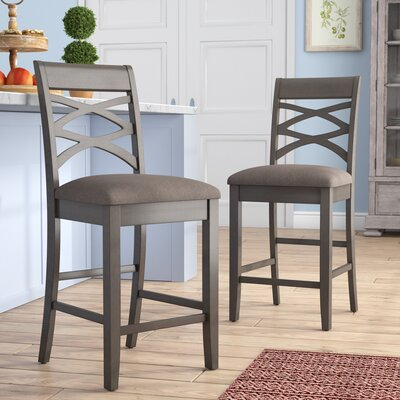 Jeanine Wood Double Crossback 24 Bar Stool