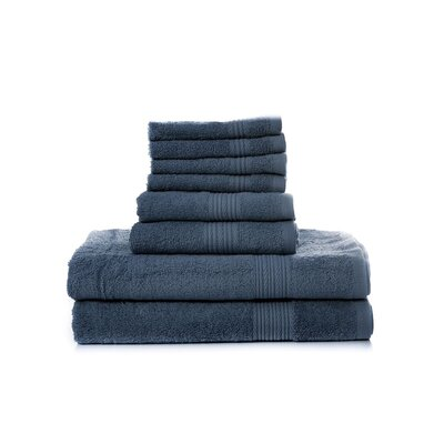 Mangine 8 Piece Towel Set Color: Navy