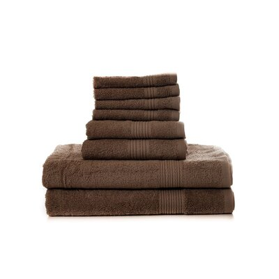 Mangine 8 Piece Towel Set Color: Brown