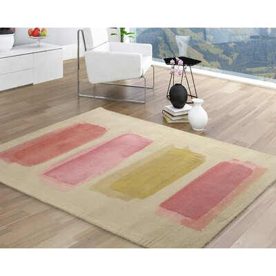 Victorine Modern Geometric Pink/Beige Area Rug Rug Size: Rectangle 56 x 86