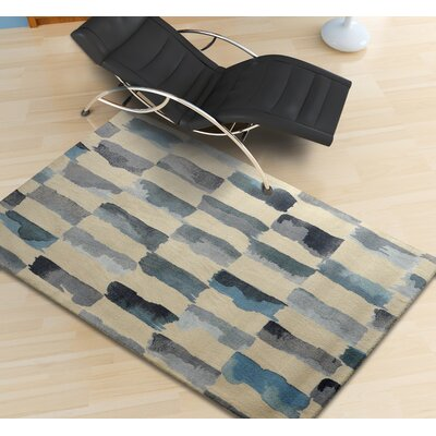 Victorine Painted Weave Contemporary Modern Turquoise/Gray Area Rug Rug Size: Rectangle 5 x 7