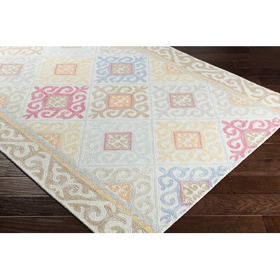 Knowland Hand-Tufted Wool Sky Blue/Camel Area Rug Rug Size: Rectangle 8 x 10
