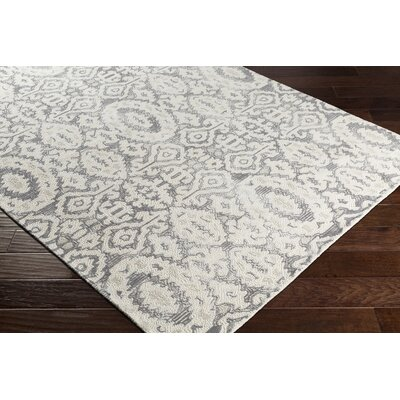 Knowland Hand-Tufted Wool Charcoal/Cream Area Rug Rug Size: Rectangle 8 x 10
